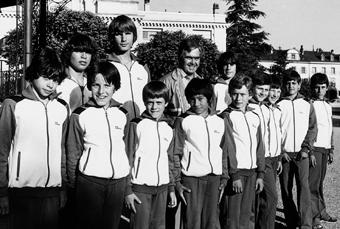 Nos jeunes gymnastes et Roger Randin à la Gymnaestrada de Zürich en 1982
